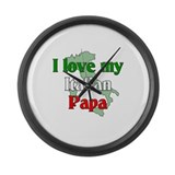 I Love My Italian Papa Large Wall Clock