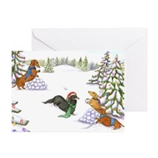 Doxie Snowball Fight Greeting Cards (Pk of 10)