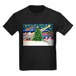 Xmas Magic & Whippet Kids Dark T-Shirt