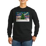 Xmas Magic & Whippet Long Sleeve Dark T-Shirt