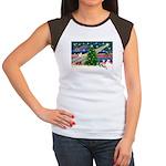 Xmas Magic & Whippet Women's Cap Sleeve T-Shirt