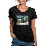 Xmas Magic & Whippet Women's V-Neck Dark T-Shirt