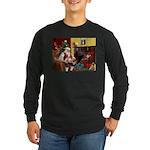 Santa's Whippet Long Sleeve Dark T-Shirt