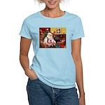 Santa & his 2 Whippets Women's Light T-Shirt