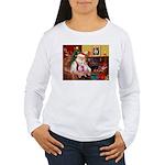 Santa & his 2 Whippets Women's Long Sleeve T-Shirt
