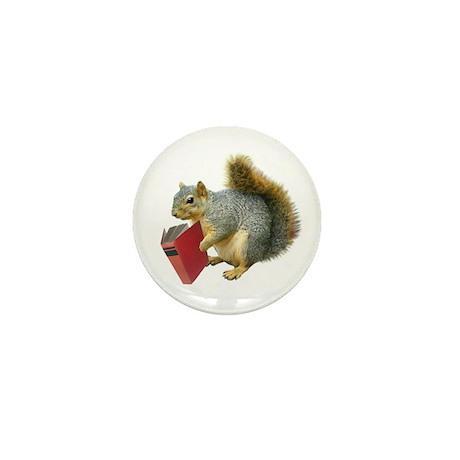 Squirrel with Book Mini Button