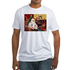 Santa's Westie pair Fitted T-Shirt
