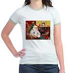 Santa's Westie pair Jr. Ringer T-Shirt