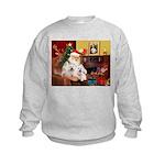 Santa's Westie pair Kids Sweatshirt