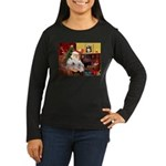 Santa's Westie pair Women's Long Sleeve Dark T-Shi