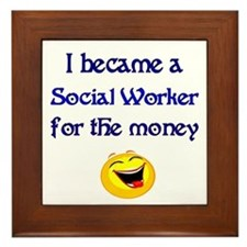 Laughing Social Worker Framed Tile
