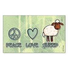 peace love sheep Rectangle Decal