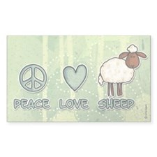 peace love sheep Rectangle Sticker 50 pk)