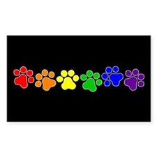 Paw Print Pride Rectangle Sticker 50 pk)