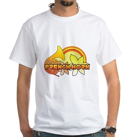 Retro French Horn White T-Shirt