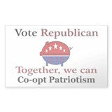 Patriotic Pig Rectangle Decal