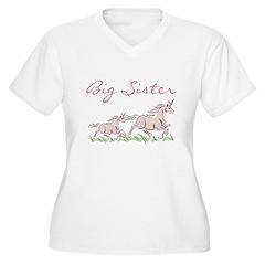 Unicorn Big Sister Women's Plus Size V-Neck T-Shir
