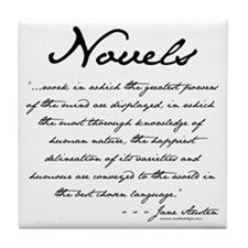 Jane Austen on Novels Tile Coaster