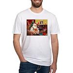 Santa's 2 Corgis (P2) Fitted T-Shirt