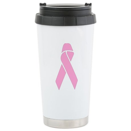 Pink Ribbon Ceramic Travel Mug