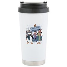 North Pole Penguins Ceramic Travel Mug