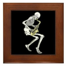 Skeleton Saxophonist Framed Tile