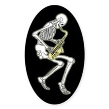 Skeleton Saxophonist Oval Decal