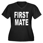 First Mate Women's Plus Size V-Neck Dark T-Shirt