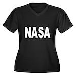 NASA Women's Plus Size V-Neck Dark T-Shirt