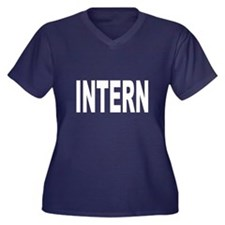 Intern Women's Plus Size V-Neck Dark T-Shirt