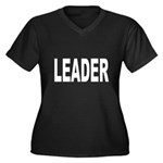 Leader Women's Plus Size V-Neck Dark T-Shirt