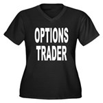 Options Trader Women's Plus Size V-Neck Dark T-Shi