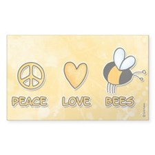 peace love bees Rectangle Decal