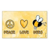 peace love bees Rectangle Stickers