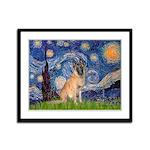 Starry/Belgian Malanois Framed Panel Print