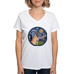 Starry/Belgian Malanois Women's V-Neck T-Shirt