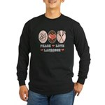 Peace Love Lacrosse Long Sleeve Dark T-Shirt