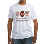 Peace Love Lacrosse Fitted T-Shirt