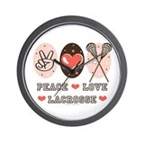 Peace Love Lacrosse Wall Clock