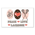 Peace Love Lacrosse Rectangle Sticker 50 pk)