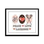 Peace Love Lacrosse Framed Panel Print