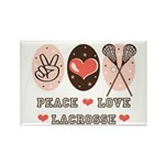Peace Love Lacrosse Rectangle Magnet