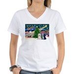 XmasMagic/TibetanTerriers Women's V-Neck T-Shirt