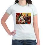 Santa/Tibetan Spaniel Jr. Ringer T-Shirt