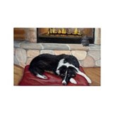 Border Collie Fireplace Rectangle Magnet