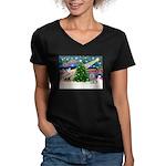 Xmas Magic / Skye Terri Women's V-Neck Dark T-Shir