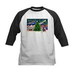 Xmas Magic & Silky Terrier Kids Baseball Jersey