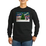 Xmas Magic & Silky Terrier Long Sleeve Dark T-Shir