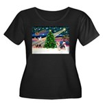 Xmas Magic & Silky Terrier Women's Plus Size Scoop