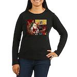 Santa's Sib Husky Women's Long Sleeve Dark T-Shirt